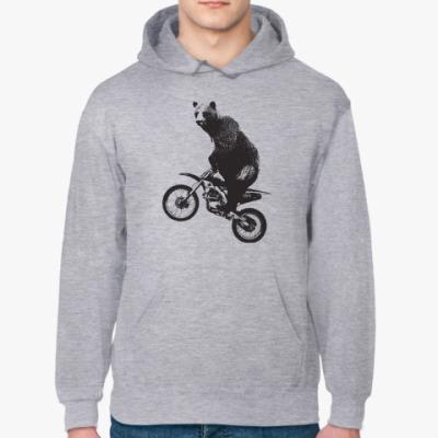 Толстовка худи Медведь на мотоцикле