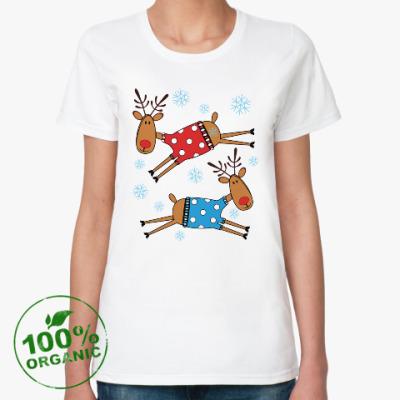Женская футболка из органик-хлопка Новогодние олени в свитерах