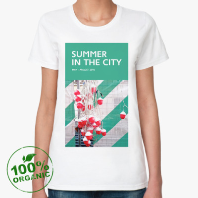 Женская футболка из органик-хлопка Женская футболка Summer in the City — гирлянда