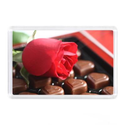 Магнит Роза и конфеты