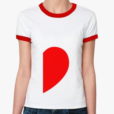 Женская футболка Ringer-T Половинка сердца