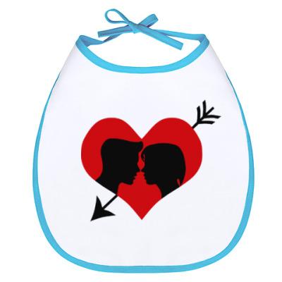 Слюнявчик Сердце хочет любви