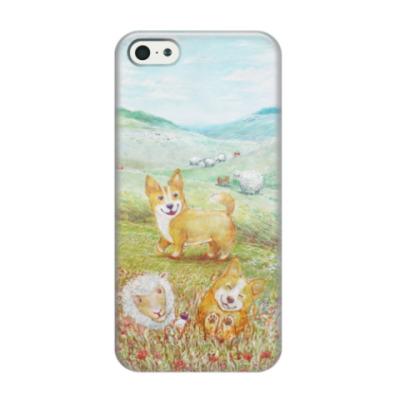 Чехол для iPhone 5/5s Весёлый коржик на лужайке