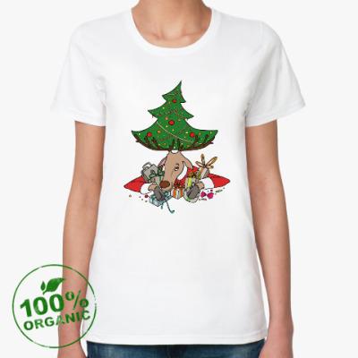 Женская футболка из органик-хлопка Жадный олень