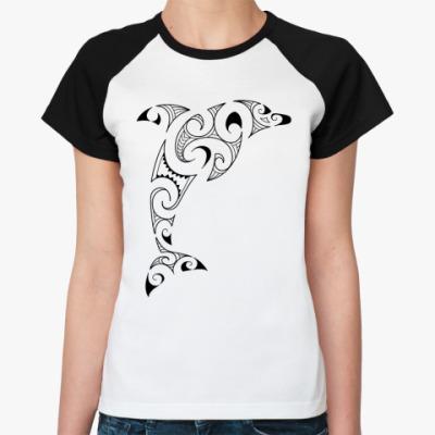 Женская футболка реглан Дельфин