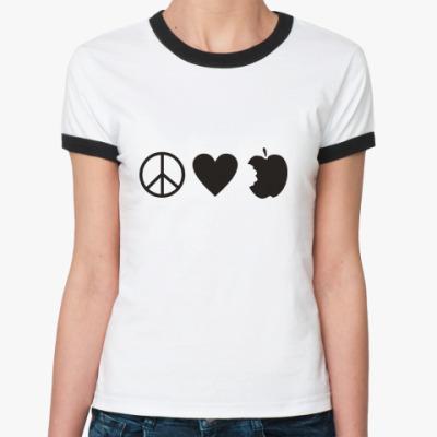 Женская футболка Ringer-T Peace Love Twilight