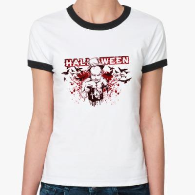 Женская футболка Ringer-T Bloody Halloween R-T Ж()