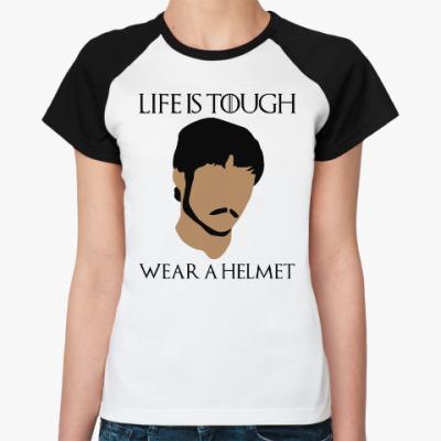 Женская футболка реглан  Wear a helmet