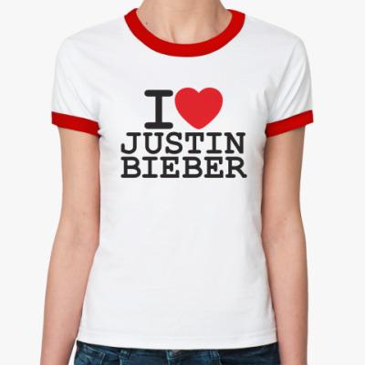 Женская футболка Ringer-T I love Justin Bieber
