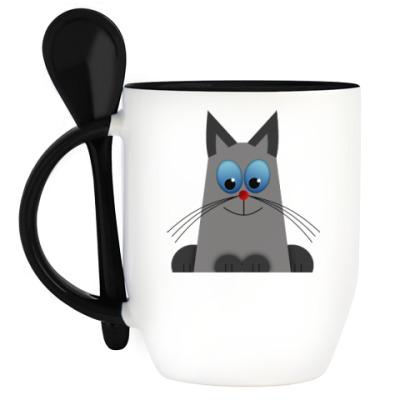 Кружка с ложкой Голубоглазый котик