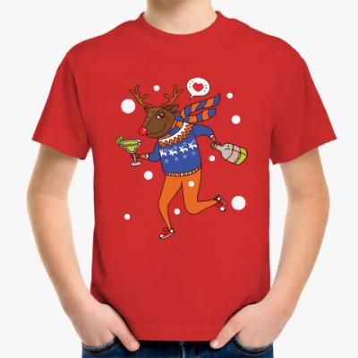 Детская футболка Олень с бутылкой