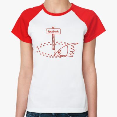 Женская футболка реглан Ёж ищет выход из Facebook