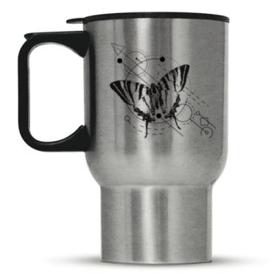 Кружка-термос Бабочка и геометрия