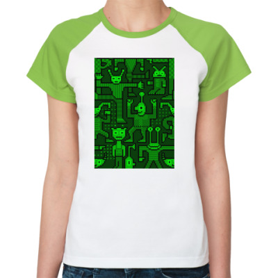Женская футболка реглан Зеленые гуманоиды