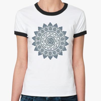 Женская футболка Ringer-T Мандала со слониками