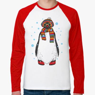 Футболка реглан с длинным рукавом Новогодний пингвин в шапке