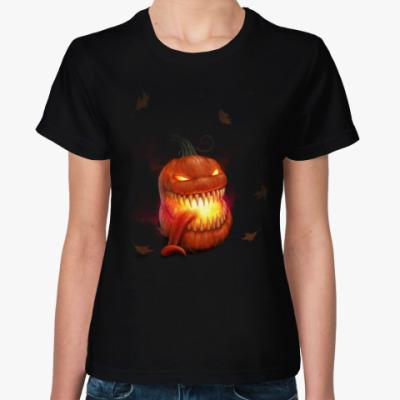 Женская футболка Зубастая Тыква