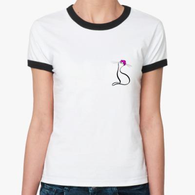 Женская футболка Ringer-T Важная кошка  женская