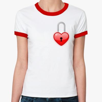 Женская футболка Ringer-T Сердце-замок