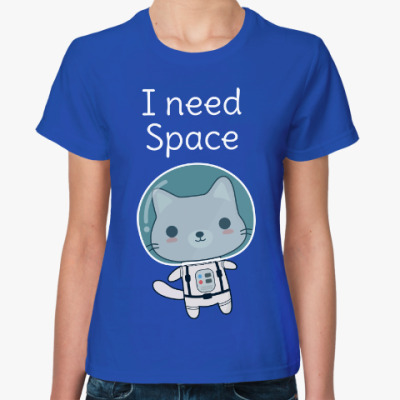 Женская футболка Кот космонавт