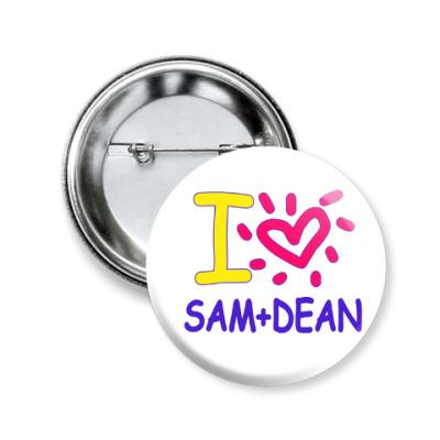 Значок 50мм Supernatural - I love Sam+Dean