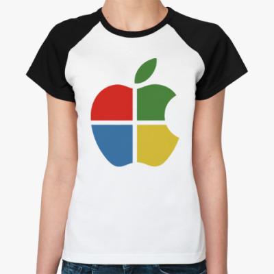 Женская футболка реглан Яблоко Виндоус