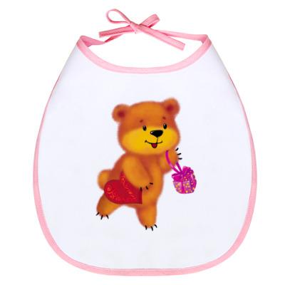 Слюнявчик Мишка с подарком