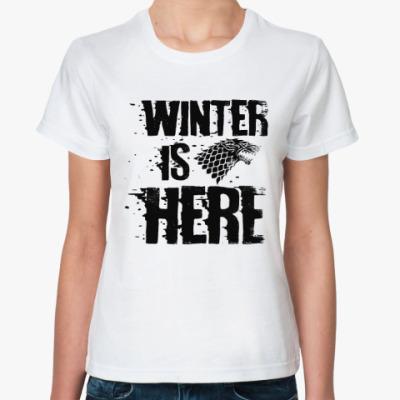 Классическая футболка Игра престолов. Winter is here