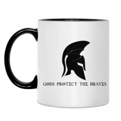 Кружка Gods protect the braves,спарта
