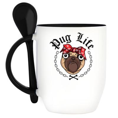 Кружка с ложкой Pug Life