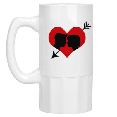 Пивная кружка Сердце хочет любви