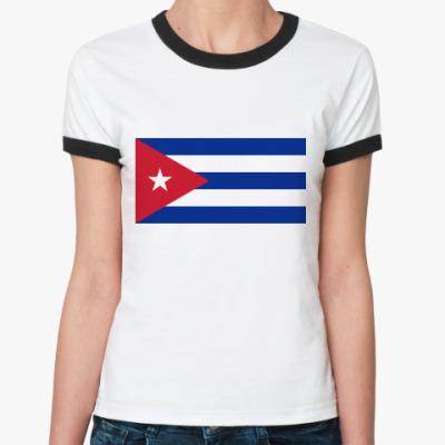 Женская футболка Ringer-T  Куба