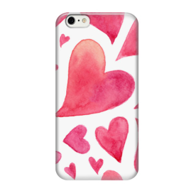 Чехол для iPhone 6/6s Акварельные сердца