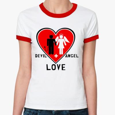Женская футболка Ringer-T Devil+Angel