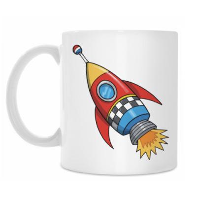 Кружка Космос. Ракета. Котэ. Звезды.