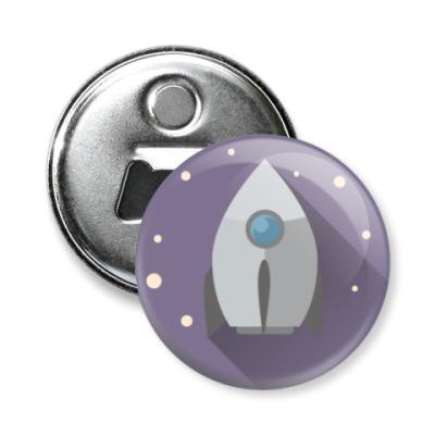 Магнит-открывашка Ракета в стиле флэт