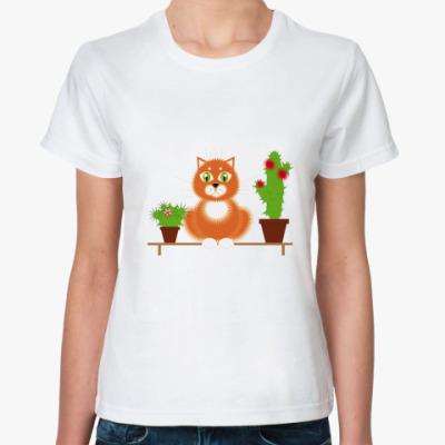 Классическая футболка   Кот флорист
