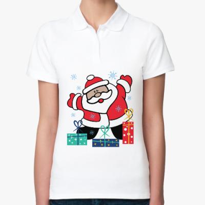 Женская рубашка поло Дед Мороз с подарками