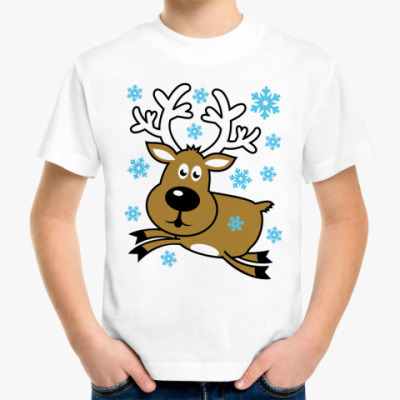 Детская футболка Олень в грациозном прыжке