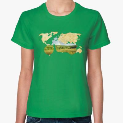 Женская футболка Пейзаж мотоцикла