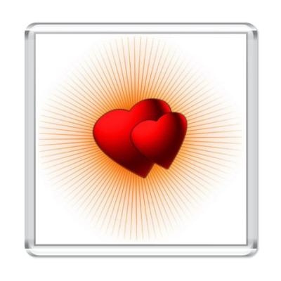 Магнит  'Сердца в лучах'
