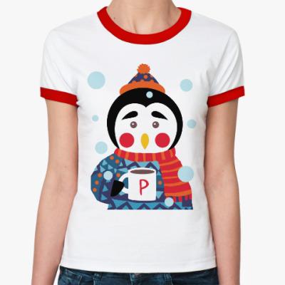 Женская футболка Ringer-T Пингвин с чашкой