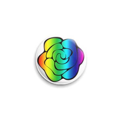 Значок 25мм  Радужная роза