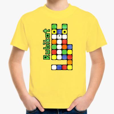 Детская футболка Как собрать кота Рубика игра
