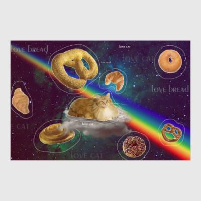 Постер Космический кот на облаке