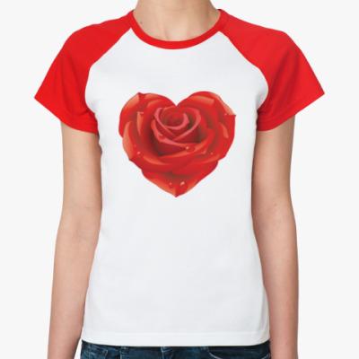Женская футболка реглан I love you - Любовь в сердце