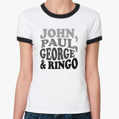 Женская футболка Ringer-T John.Paul.George&Ringo