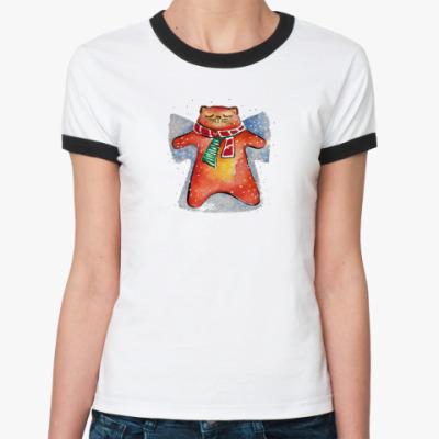 Женская футболка Ringer-T Снежный Кот