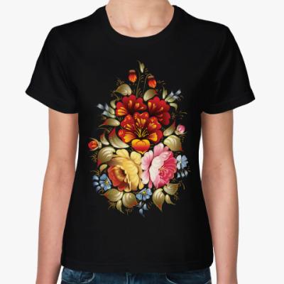 Женская футболка Русская роспись