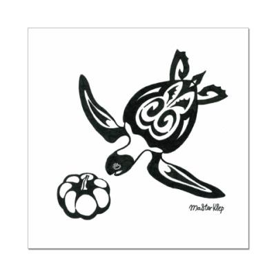 Наклейка (стикер) Морская черепаха с тыквой